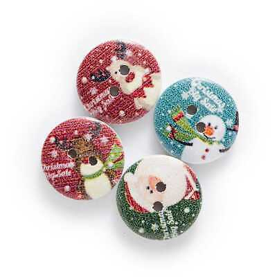 XMAS 30 24mm LARGE WOODEN WHITE STAR BUTTONS SEW SCRAPBOOK CRAFT CARDS