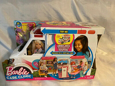 Barbie Care Clinic 2-in-1 Ambulance Transforms Into Hospital w/ 20+ Accessories