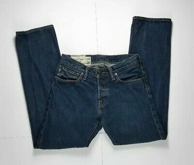 Abercrombie & Fitch Remsen Low Rise Slim Straight Button Fly Jeans 28x30 Blue