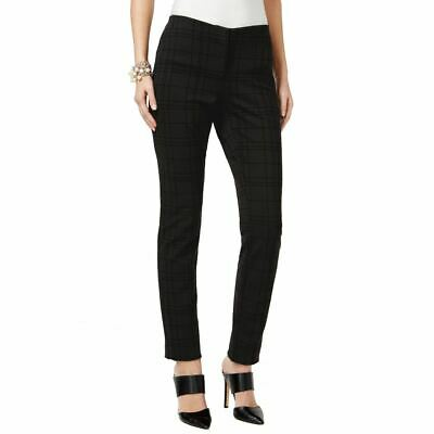 ALFANI NEW Women's Black Flocked Grid-print Comfort Waist Skinny Pants 8 TEDO