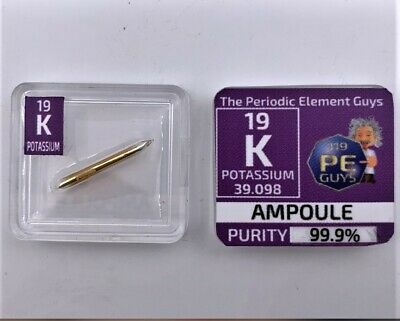 Potassium metal Element 19 sample 15 mg ampoule 99,9% in a Periodic Element Tile