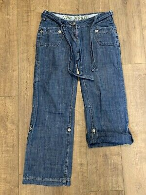 NEXT The Slouch Relaxed Belted Blue Denim Jeans Roll Tab Leg Size 12 L30.5 VGC