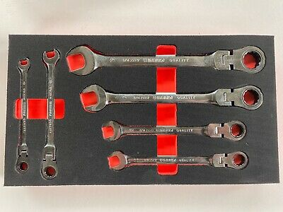 **WÜRTH ZEBRA RATCHET COMBINATION SPANNER WRENCH SET 6pc WITH FOAM INLAY**