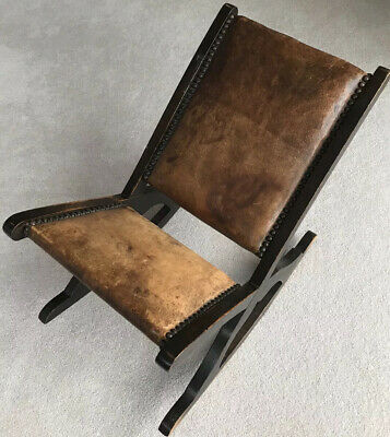 Vintage Distressed Timber Leather Studded Small Rocking Gout Classy Foot Stool