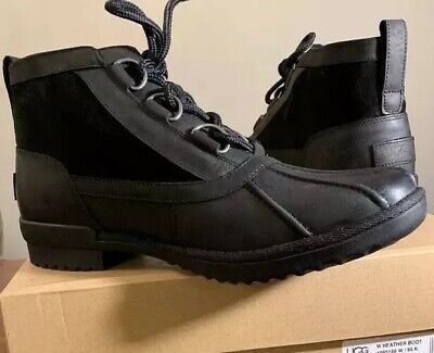 Ugg Heather Waterproof Black Woman's  Ankle Leather Boot's 1095156 Size 7.5 New
