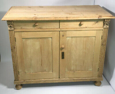 Antique Victorian Solid Pine Two Drawer Two Door Sideboard / Stripped Dresser