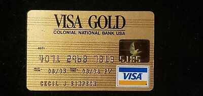 Colonial National Bank Visa Gold credit card exp 1994♡Free Shipping♡ cc714