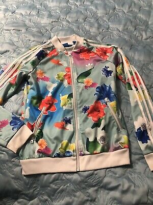 Girls Adidas Flower Multi Colour Floral Tracksuit Jacket Age 11-12 Years