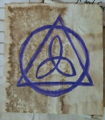 Stained Paper Triquetra Symbol Watercolour Sigil Journal Grimoire Spellbook
