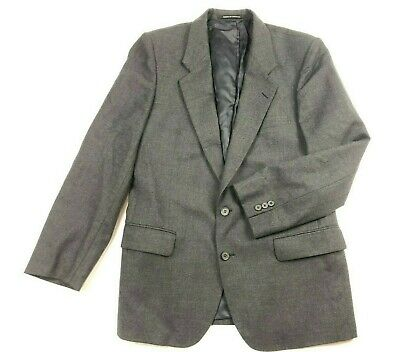 Mens VTG Yves Saint Laurent 100% WOOL Sport Coat Jacket Blazer 40 Charcoal YSL