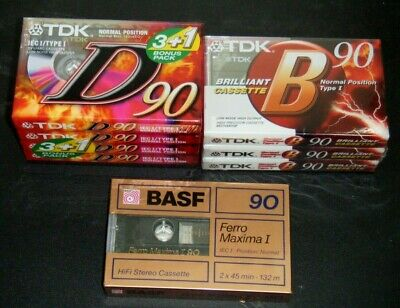 TDK B90 And D90 + BASF 90 Cassette Tapes New Sealed