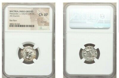 Bactria Indo-Greeks Menander Drachm NGC Choice XF Ancient Silver Coin