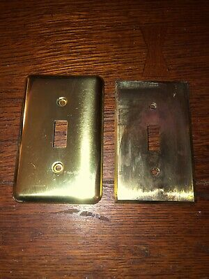 2 Vintage Antique Heavy Gauge Solid Brass Single Switch Toggle Plate Covers