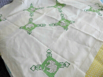 Glorious Vintage Lily Design - Green on Cream Linen Hand Embroidered Tablecloth