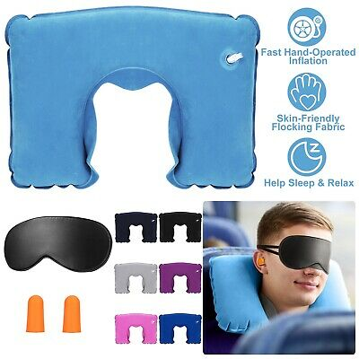 Portable Inflatable U Shaped Pillow Head Rest Cushion Travel Office Neck Support