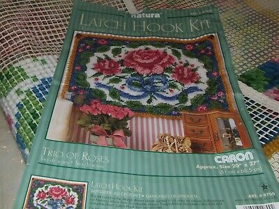 Natura Latch Hook Kit - Trio of Roses - Started