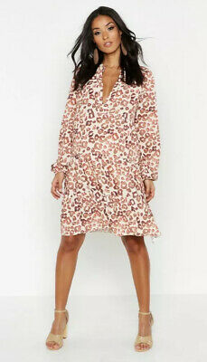 Maternity Leopard Print Smock Dress Size 14 *Boohoo* Summer/work/maternity