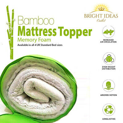 Memory Foam Mattress Topper Bamboo Orthopedic 2.5cm Thick Zipped Cover All Sizes
