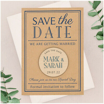 PERSONALISED Classic Navy Blue Save The Date Cards Wooden Magnets Kraft Card