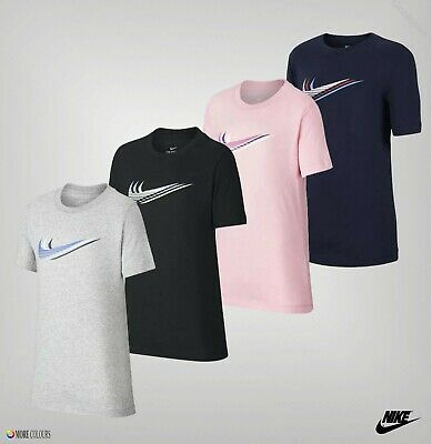 Boys Girls Nike Short Sleeves Ribbed Crew Sportswear T-Shirt Sizes from 7 to 13