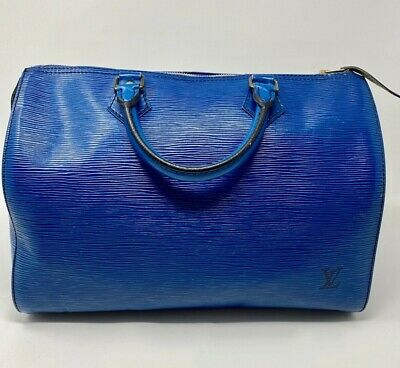 Authentic Louis Vuitton Epi Speedy 30 Hand Bag Toledo Blue LV 87888