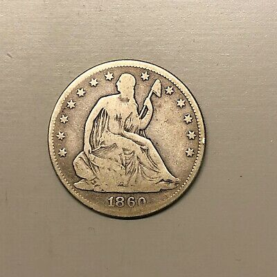 1860 Seated Liberty Half Dollar, Partial Liberty, Nice Color, Lower Mintage