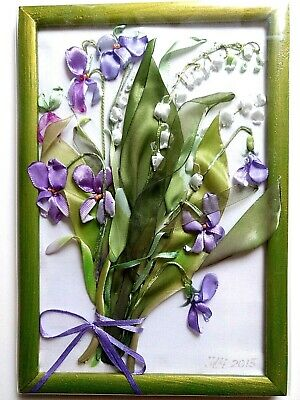 Floral 3d Embroidery Flower Painting, Embroidered Bouquet, New, Wood Framed