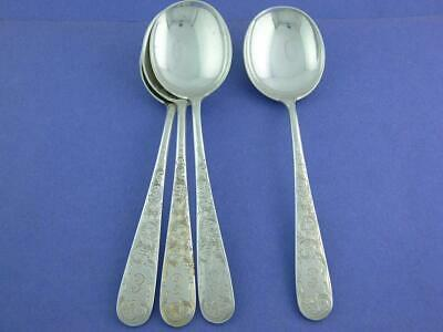 """4 Sterling S KIRK & SON Cream Soup Spoons OLD MARYLAND ENGRAVED ~ """"E"""""""
