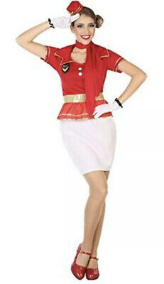 Air Hostess Outfit Ladies Hen Night Airline Steward Fancy Dress Costume 6//24