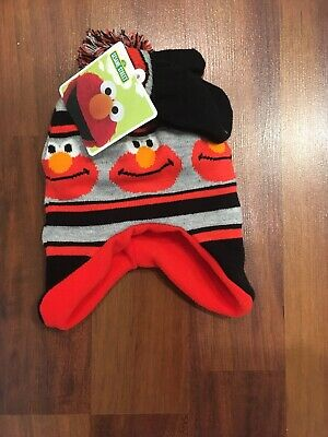 Age 2-4 Sesame Street Elmo Hat and Mittens Cold Weather Set Toddler Boy