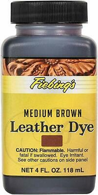 New FIEBINGS Medium Brown Leather Dye 4 oz. with Applicator for Shoes Boots Bags