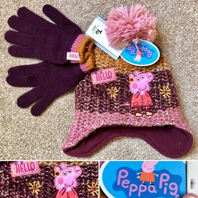 Tu Girls PEPPA PIG Knitted Fleece Lined Hat & Gloves Set - 3-5 Years - New!