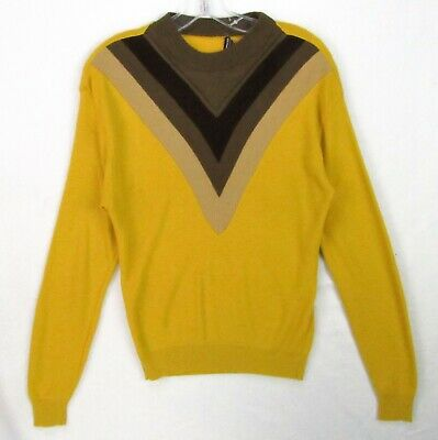 Vintage 60s Towncraft Prep Sweater Mens S Chevron Tri-Tone Mock Neck Gold
