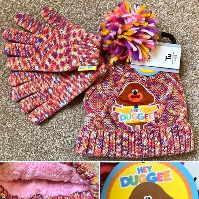 Tu Girls HEY DUGGEE Knitted Fleece Lined Hat & Gloves Set - 3-5 Years - New!