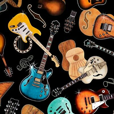 Good Vibrations-Guitars Tossed on Black Background-Quilting Treasures