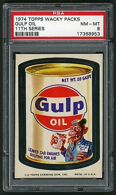 1974 Topps Wacky Packages Sticker Glup Oil 11th Series PSA 8 Non-Sports