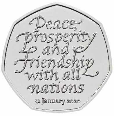 NEW 50p Pence january 2020 BREXIT Peace, Prosperity & Friendship all Nations