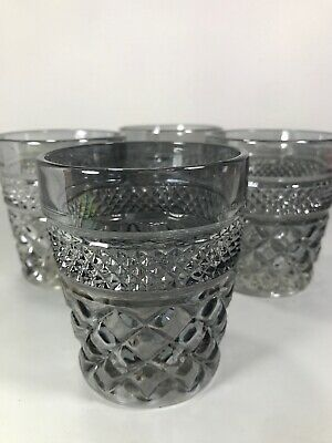 """Anchor Hocking """"Wexford Smoke"""" Double Old Fashioned Glass Tumbler Set Of 4"""