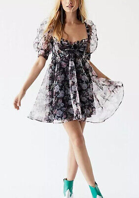 Faye Baby Doll Dress in Black Floral For Love & Lemons Large New