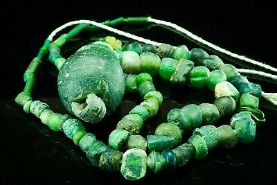 Ancient Collectible Super rare Green Roman Glass Large Top Patina Beads Necklace