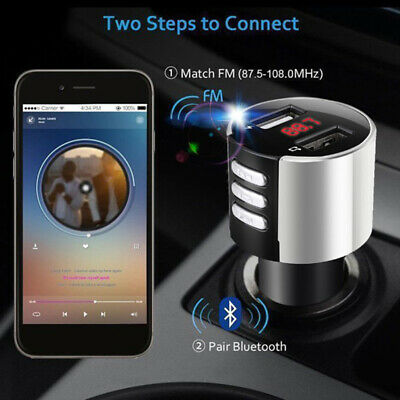 Silver Car Auto Lighter FM Radio Transmitter Bluetooth Receiver Charger Adapter