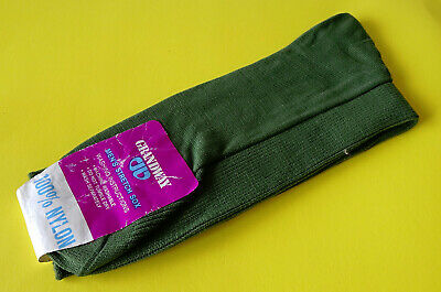 Vintage Woolworths-Grandway 100% Nylon Stretch Sox Olive Green Size 7-10½ ~ New