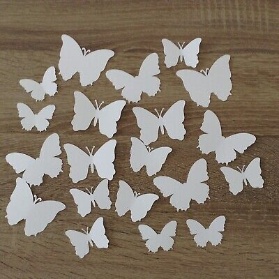 20 x white butterflies cardstock die cuts, scrapbooking cardmaking craft