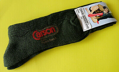Vintage CARSON Color Nylon-Stretch Socks Dark Green ~ New on Card