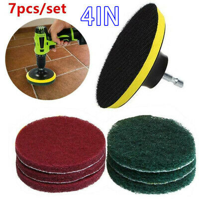 "7x Set 4"" Power Scrubber Scouring Scrub Pads For Tile Waxing Floor Cleaning Kit"