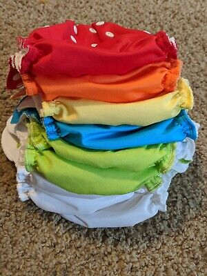 Applecheeks Assorted Lot of 9 Cloth Diapers Size 1 VGUC solids