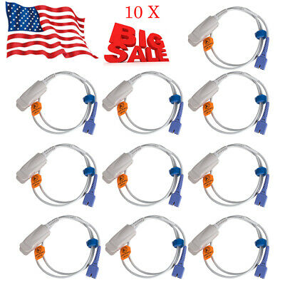 10X Medical Adult Finger Clip Spo2 Probe Fit for Nellcor DS-100A 7Pins Precise
