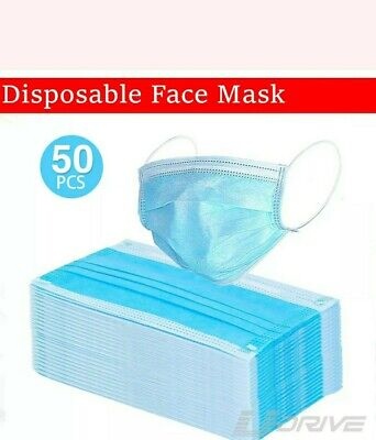 50 Disposable Face Masks Surgical Medical Dental Industrial Quality 3-Ply Blue