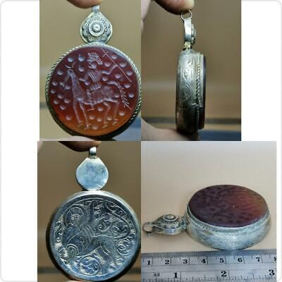Wonderful Old Agate intaglio Stone Silver Lovely Pendant    # 124