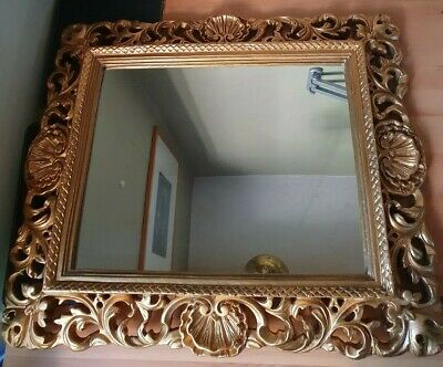 Vintage Antique Gold Rococo Style Chalk Framed Wall Mirror Portrait/Landscape